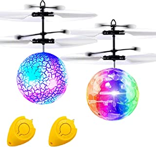 Camlinbo 2 Pack LED Flying Ball Toys, RC Flying Toys for Kids Birthday Holiday Gifts Boys Girls Rechargeable Ball Drones I...