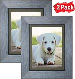 DY Frame 5x7 Picture Frame Retro Blue Rustic Home or Office Decor | Vertical or Horizontal Tabletop Stand or Wall Mounting | Baby, Pet, or Family Photos, Diploma