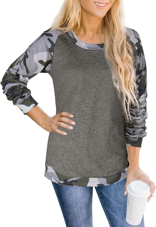 Hibluco Women's Long Sleeve Tunic Tops Casual Loose Blouse Crewneck Camo T Shirt