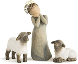 Willow Tree Little Shepherdess, sculpted hand-painted nativity figures, 3-piece set