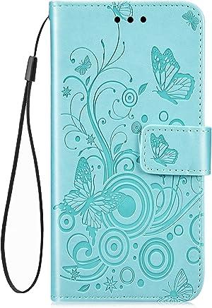 Jinghuash Kompatibel mit Samsung Galaxy A40 H�lle,Leder Tasche Schmetterling Muster Brieftasche Etui Bookstyle PU Leder Flip Case Handyh�lle mit Kartenf�cher Magnet Schutzh�lle Handytasche-Gr�n