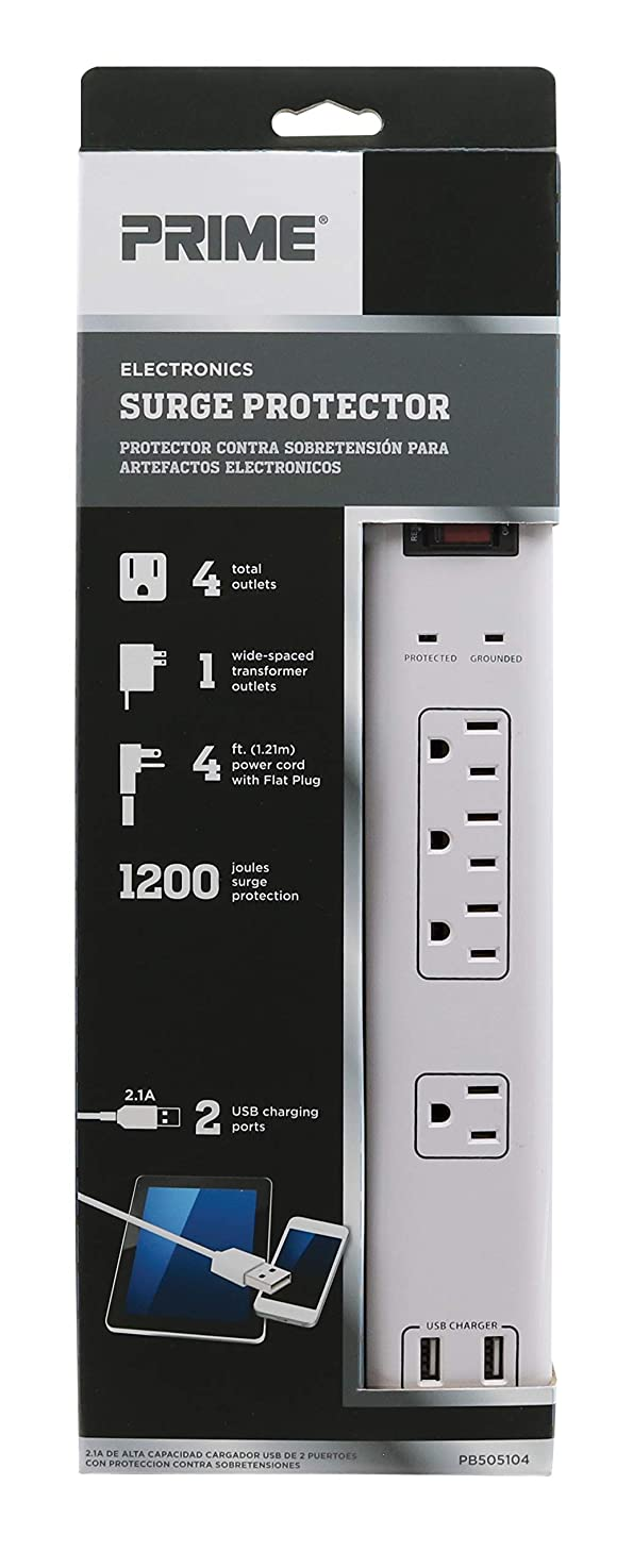 Prime Wire & Cable PB525106 6-Outlet Electronics Surge Protector with 14/3 SJT 4-Feet Cord and USB Charger, White