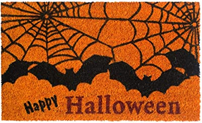"Rugsmith Black Machine Tufted Happy Halloween Bat Doormat, 18"" x 30"", Orange"