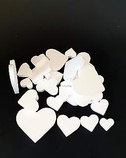 FoamArt - Cuori Love - Cuori in polistirolo per decorazione da appendere o incollare diverse misure 24 pezzi (Bianco)