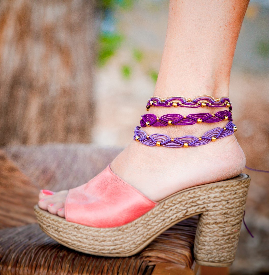 Macrame ankle Sales results No. 1 bracelet Purple and macrame free anklets gold