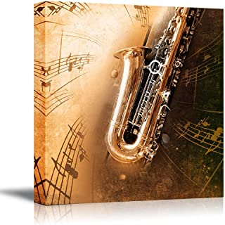 wall26 - Canvas Prints Wall Art - Retro Sax with Old Yellowed Texture Background (Saxophone) | Modern Wall Decor/Home Decoration Stretched Gallery Canvas Wrap Giclee Print. Ready to Hang - 24