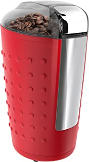 Vremi Electric Coffee Grinder - 150 Watt Portable Coffee Bean Grinder with Easy Touch Settings Stainless Steel Blades - Grinds Coarse Fine Ground Beans for 12 to 14 Cups of Coffees - Red