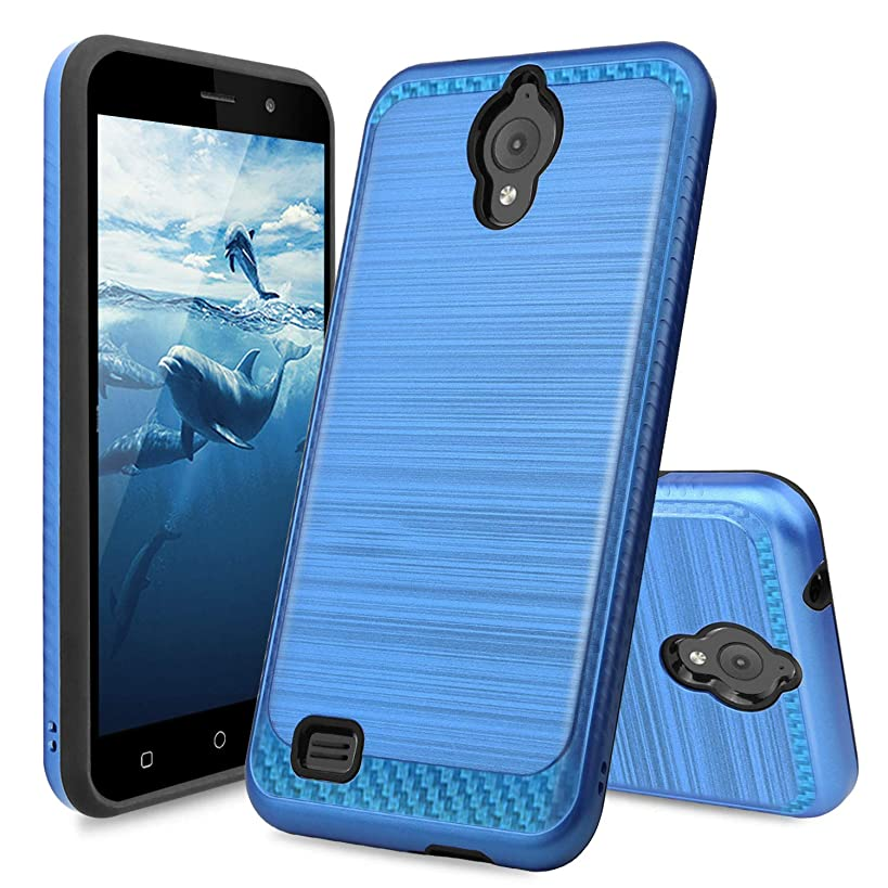 TJS AT&T Axia/Cricket Vision Case Hybrid Shockproof Resist Drop Protection Phone Case Cover Metallic Brush Finish Hard Inner Layer (Dark Blue)