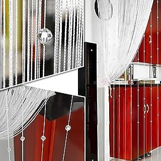 Cortina de flecos con cuentas de cristal, 1 m x 2 m, panel divisor de borlas para ventanas, tratamientos para el hogar, sala de estar, dormitorio, blanco, Tamaño libre
