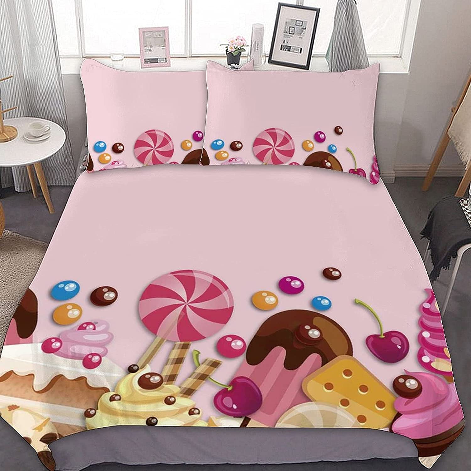 Colorful Industry No. 1 Candy Lollipop Indianapolis Mall Background Pattern Quilt Set Cover Duvet