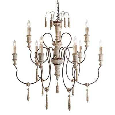 LALUZ 9-Light French Country Distressed White W...