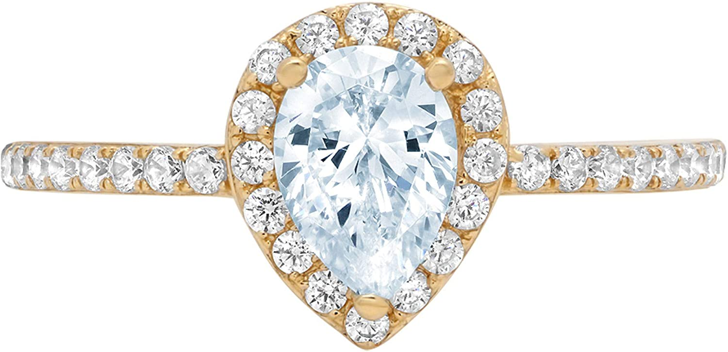 1.22ct Brilliant Pear Cut Solitaire with accent Natural Topaz Gem Stone Ideal VVS1 Engagement Promise Anniversary Bridal Wedding Ring Real 14k Yellow Gold
