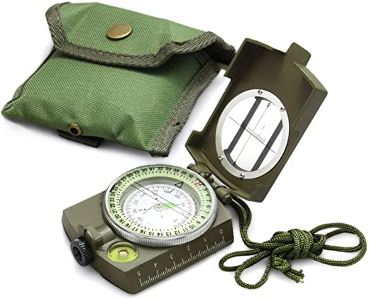Eyeskey Tactical Survival Compass with Lanyard & Pouch | Waterproof & Impact Resistant | Lensatic Sighting Compass for Hiking