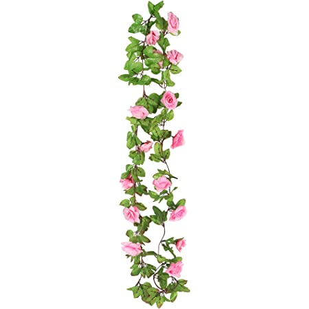 BS AMOR Artificial Wall Hanging Rose Flower Creeper (Pink, Green)