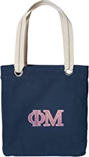 Broad Bay Phi Mu Sorority Tote Bag Rich Dye Washed Navy Cotton Canvas