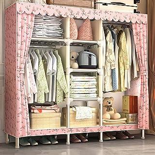 Armoire de rangement pour garde-robe de rangement pour vêtements portables à la maison avec un tissu de coton épais en pol...