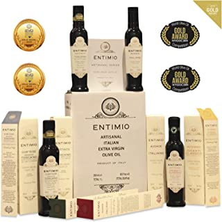 Entimio Collection | Extra Virgin Olive Oil Gift Set, Delicate to Robust Italian Olive Oil | 2018 Harvest, Italy, Tuscany, Gold Awards | First Cold Pressed, Rich in Antioxidants | 33.8 (4 x 8.5) fl oz