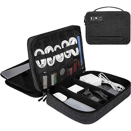Bestenrose Kabeltasche Wasserdicht Kabel Organizer Tasche Universal Festplattentasche Gro/ß Doppelte Schichte Elektronik Zubeh/ör Organisator f/ür Ladekabel USB Sticks SD Schwarz