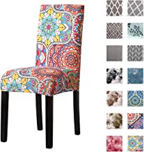 Kivors Universal Spandex Printed Chair Slipcovers,Stretch Armless Chair Covers Stretch Washable Dining Chair Cover Removab...