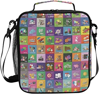 Cooler Lunch Box Collection of Colorful Icons Insulated Lunch Bag Tote Freezable Meal Prep with Shoulder Strap for School Work Office