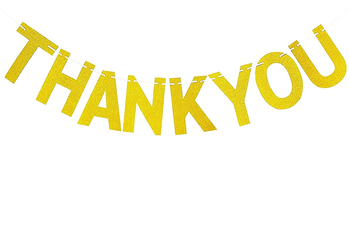 Brcohco Thank You Banner Gold Glitter Letter Bunting Hanging Decor Wedding Party Decorations