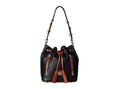Dooney & Bourke Pebble Cooper Drawstring (Black/Tan Trim) Drawstring Handbags