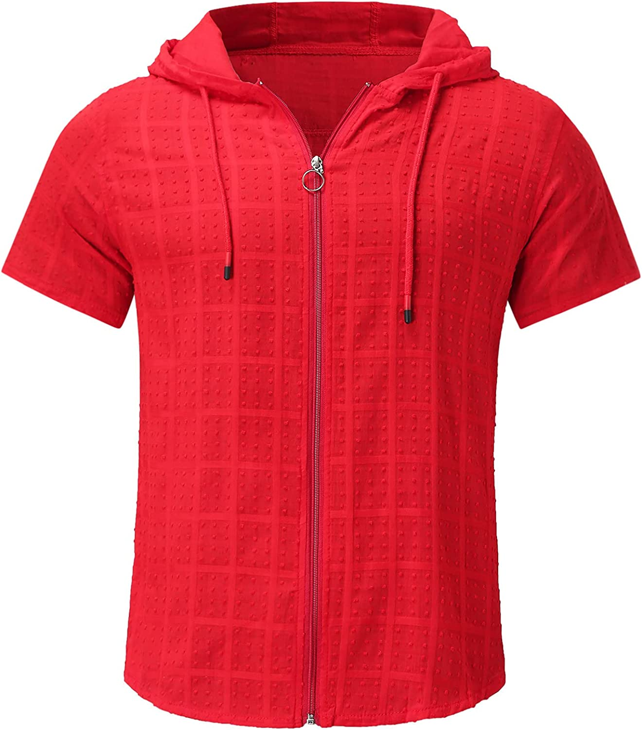 Mens Zip Up Hoodies Short Sleeve Big and Tall Shirts Fitness Gym Sweatshirt Tops Casual Summer Sports Blouse
