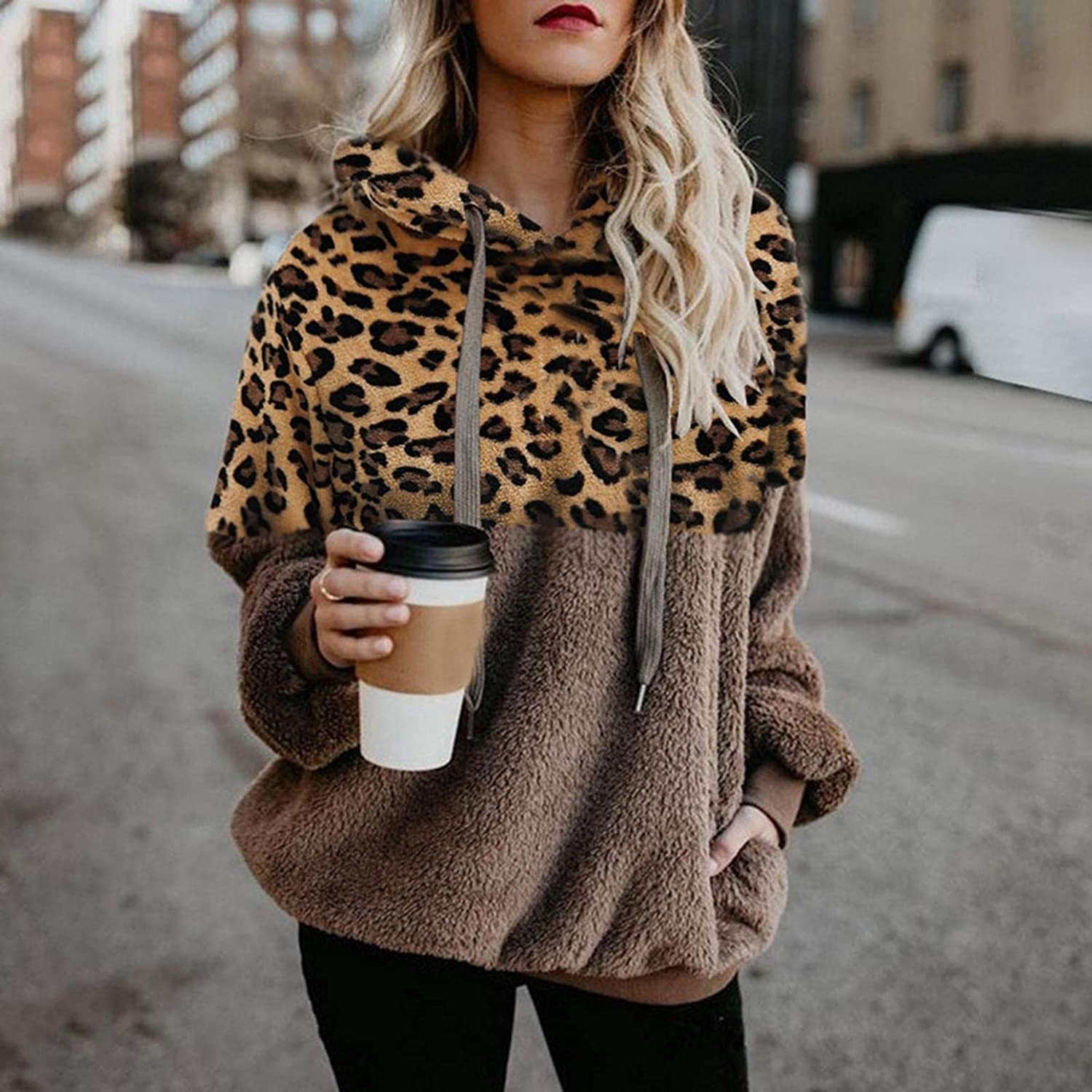lucyouth Hoodies for Women Casual Double Fuzzy Sherpa Sweatshirt Pullover Leopard Print Winter Coat Outwear with Pockets