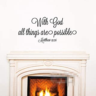 FSDS with God Everything is Possible Quote Wall Decal Biblical Citation Bedroom Lounge