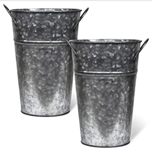 Arbor Lane Rustic Metal Flower Vase - 8 Inches Tall - French Bucket, Farmhouse Style - Set of 2 (Pewter)