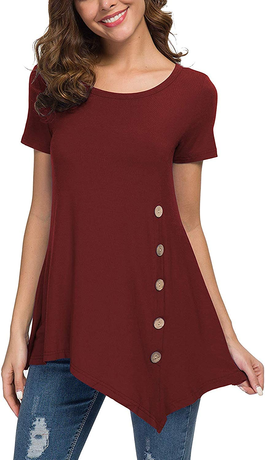 WEACZZY Women's Summer Short Sleeve Scoop Neck Button Side Tunic Top (Wine red, XLarge)