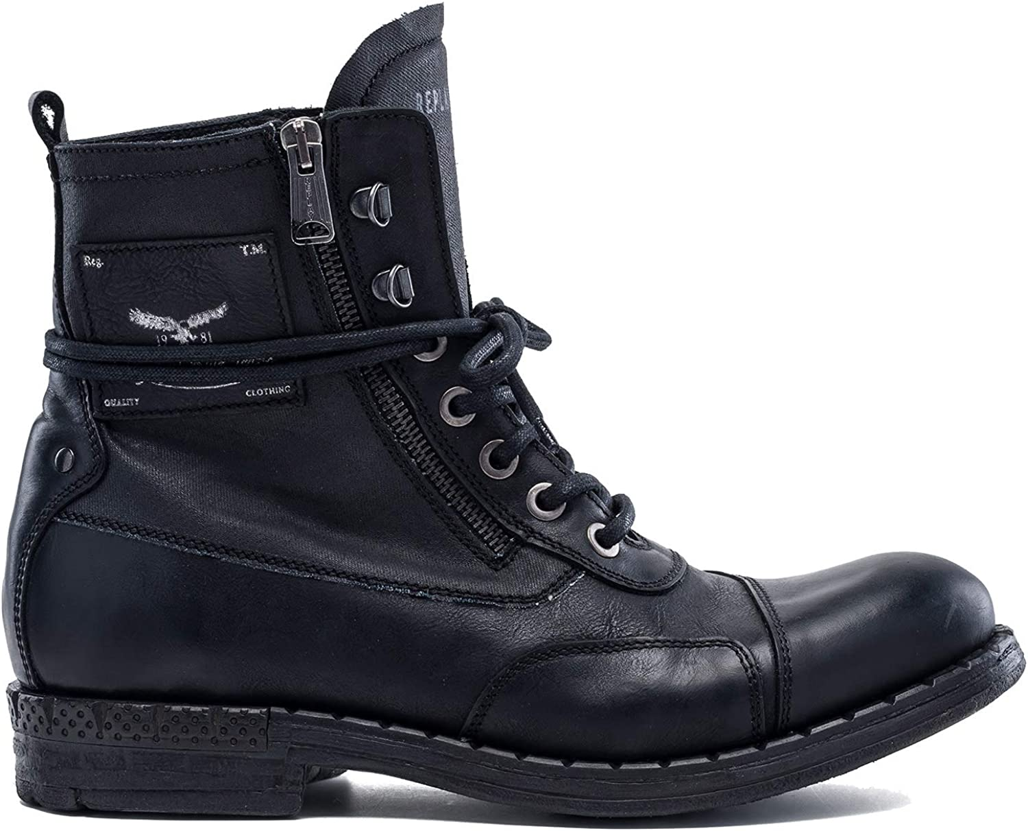 REPLAY Men's Wickham Lace Up Leather Ankle Boots Black in Size UK 10