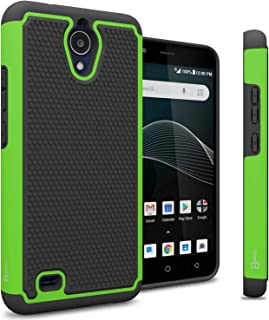 CoverON HexaGuard Series AT&T Axia Phone Case, Cricket Vision Case, Heavy Duty Rugged Dual Layer Hybrid Phone Case for AT&T Axia/Cricket Vision - Green on Black