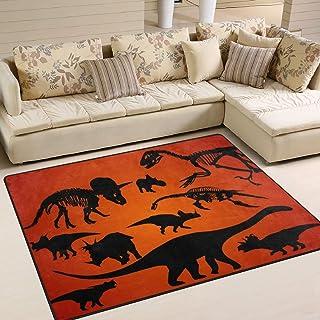COOSUN Dinosaur Silhouette Area Rug Carpet Non-Slip Floor Mat Doormats for Living Room Bedroom 63 x 48 inches /160 x 122 cm