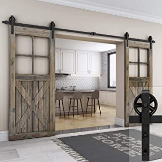 EaseLife 10 FT Double Door Heavy Duty Big Wheel Sliding Barn Door Hardware Track Kit,Ultra Hard Sturdy,Slide Smoothly Quietly,Easy Install,Fit Double 30