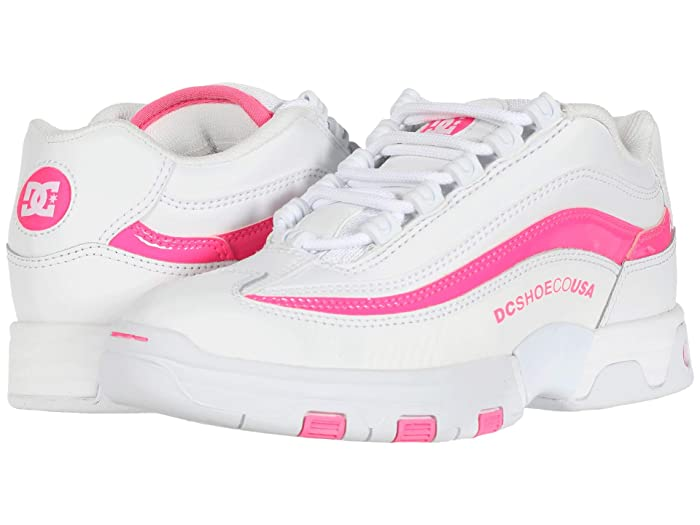 Vintage Sneakers, Retro Designs for Women DC Legacy Lite WhiteHot Pink Womens Shoes $62.99 AT vintagedancer.com