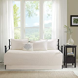 Madison Park Quebec Daybed Size Quilt Bedding Set - Ivory , Damask – 6 Piece Bedding Quilt Coverlets – Ultra Soft Microfiber Bed Quilts Quilted Coverlet