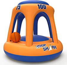 Swimming Pool Basketball Hoop Set by Hoop Shark - Orange/Blue 2020 Edition - Inflatable Hoop with Ball Included - Perfect for Competitive Water Play and Trick Shots - Ultimate Summer Toy