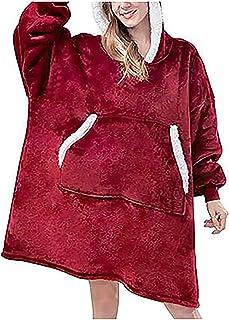 GYYlucky Pijamas De Lana para Mujer, Pijamas De Manta De Lana para Mujer, Jersey De Invierno Cálido, Manta Larga con Capucha Súper Suave para Mujeres, Niñas, Adultos, Hombres, Niños (Color : Red)