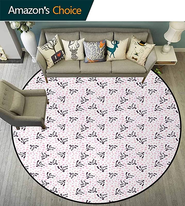 I Love You Modern Washable Round Bath Mat Childish Typography Quotes Among Cute Pink Heart Figures Love Theme Non Slip Bathroom Soft Floor Mat Home Decor Diameter 35 Inch Purple Pale Pink White