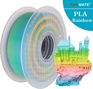 iSANMATE 3D Printer Filament PLA Dimensional Accuracy +/-0.03mm,1kg (2.2lb) Spool,1.75mm, Multicolored Rainbow for 3D Printer and 3D Pen