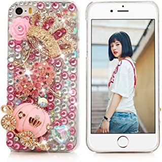 iPhone SE Case,iPhone 5S/5 Case - Mavis's Diary 3D Handmade Bling Crytal Luxury Series Cute Pumpkin Car Golden Crown Pink Flower Dancing Girl Shiny Heart Rhinestone Diamonds Clear Hard Cover