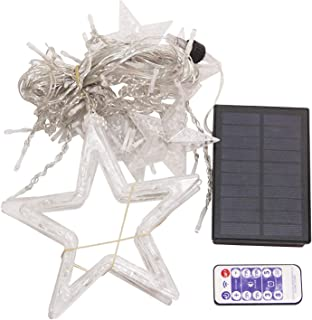 DIY Decoration Christmas Star Curtain Lights With 8 Flashing Modes Warm White/Colorful Waterproof Solar Light Outdoor Cour...