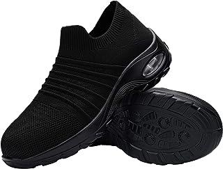 DYKHMILY Chaussure de Securite Femmes Legere Coussin d'air Chaussures de Travail Embout Acier Respirant Confort Slip-on Ba...
