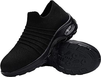 DYKHMILY Chaussure de Securite Femmes Legere Coussin d'air Chaussures de Travail Embout Acier Respirant Confort Slip-on Basket de Securite