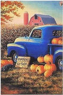 HILUCK Pumpkin for Sale Old Truck Fall Garden Flag Vertical Burlap Double Sided Flags for Rustic Farmhouse Harvest Autumn ...