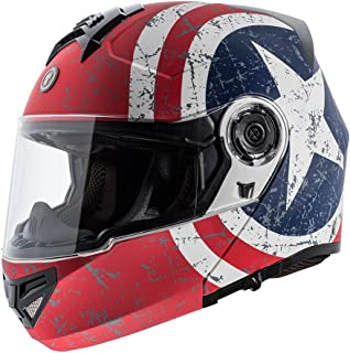 TORC T27 Full Face Modular Motorcycle Helmet with Graphic and Flip-Down Sun-Shield (Rebel Star)