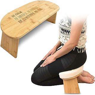Monk & Llama Kneeling Meditation Bench with Foldable Legs & Cushion — Perfect Kneeling Stool Ergonomic Bamboo Yoga Bench f...