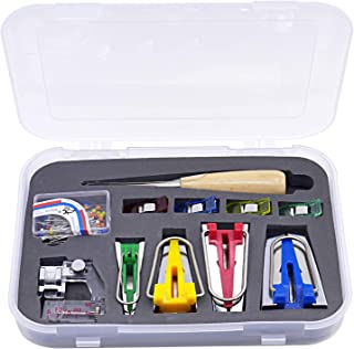 Effective 16 pcs Fabric Bias Tape Makers Tip Kit Set for Sewing & Quilting Awl and Binder Foot with Case by DGQ