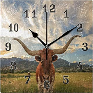 Linomo Vintage Texas Longhorn Steer Cattle Wall Clock Decor, Silent Non Ticking Square Clock Quiet for Kitchen Living Room Bedroom Bathroom Office